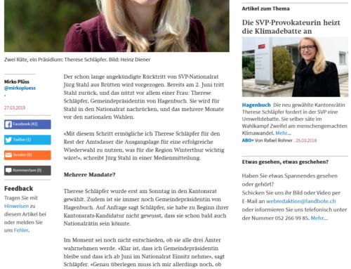 Der Landbote zur Wahl von Therese Schläpfer in den Kantonsrat und den Nationalrat