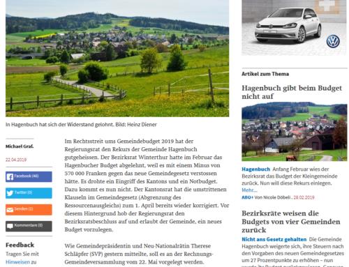 Der Landbote zum Budgetstreit mit Hagenbuch (22.4.2019)